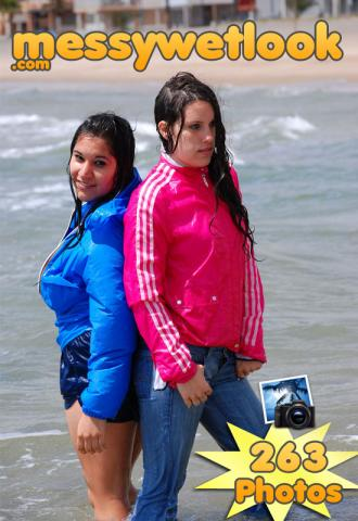 WETLOOK IN BLUE JEANS AND PINK JACKET, SHINY SHORTS AND RAINJACKET