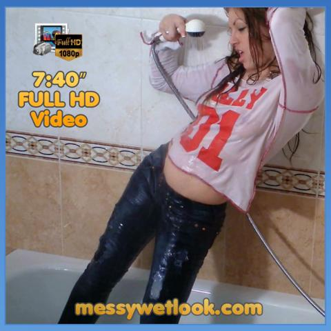 WETLOOK IN BLUE JEANS AND WHITE T-SHIRT IN THE SHOWER - VIDEO
