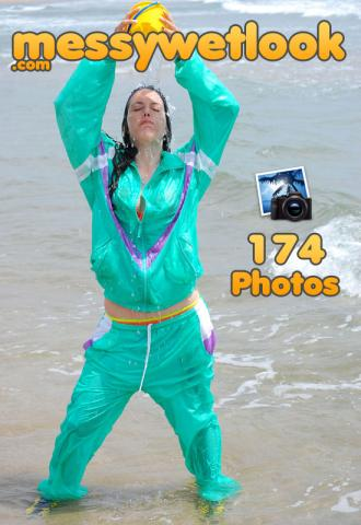 Wetlook in turquoise green nylon tracksuit